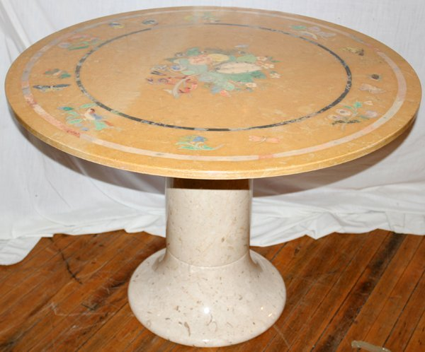 "110019: MARBLE TABLE W/PAINTED MOTIFS, H29.5"" DIA42"""