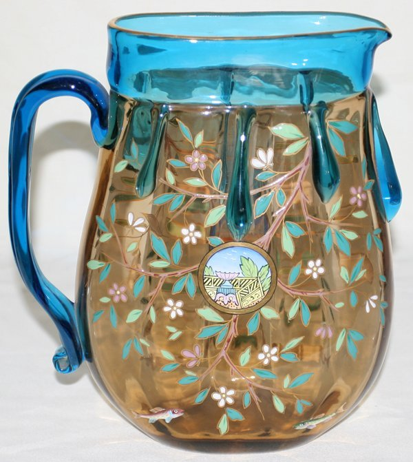 111008: MOSER PEACOCK BLUE & AMBER GLASS PITCHER, H9""