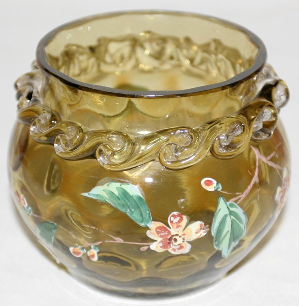 111011: MOSER AMBER GLASS BOWL W/ENAMELED FLOWERS
