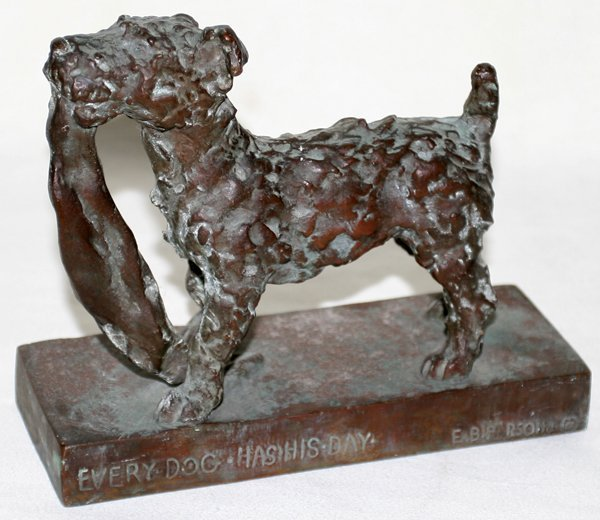 111017: EDITH B. PARSONS BRONZE EVERY DOG HAS HIS DAY