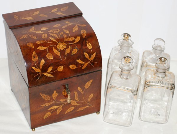 111018: ENGLISH MARQUETRY BOX W/FOUR GLASS BOTTLES