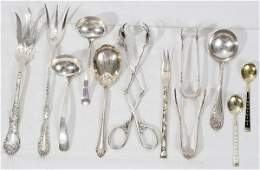 111218 STERLING SILVER SERVING SPOONS  TONGS