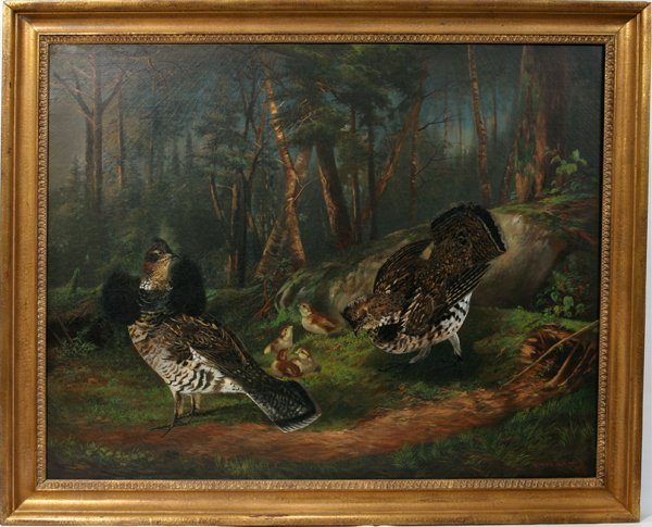 112001: ALFRED J. CROOK OIL ON CANVAS, NESTING GROUSE