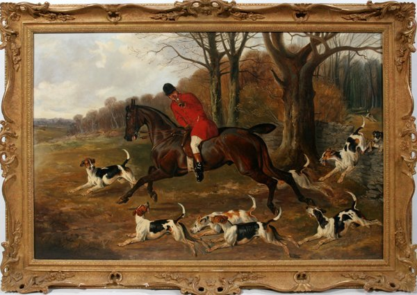 112004: ALFRED WHEELER OIL ON CANVAS, HUNTER & HOUNDS