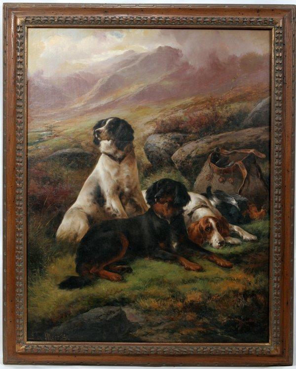 112005: JOHN MORRIS OIL ON CANVAS, HIGHLAND W/ DOGS