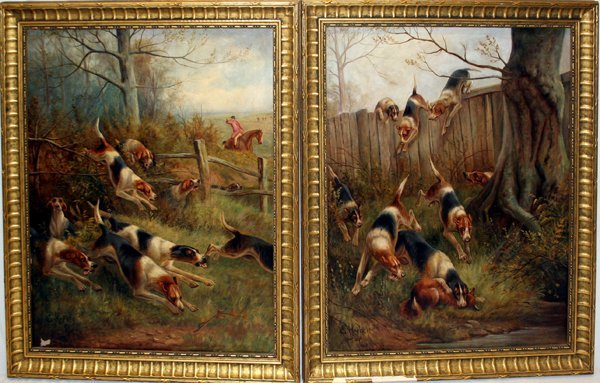112007: E. HERBERT OILS ON CANVAS, HUNTING DOGS