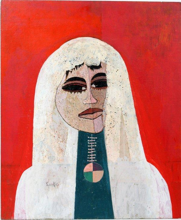 112021: SARKIS SARKISIAN ACRYLIC ON BOARD, WOMAN