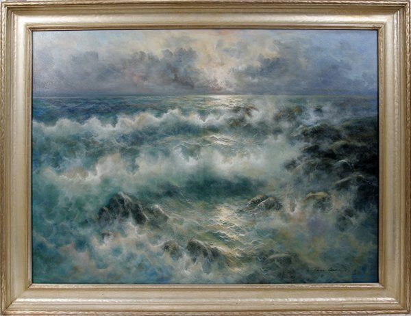 """112023: REMO ALDINI, OIL ON CANVAS, """"SURF"""", 36""""x48"""""""