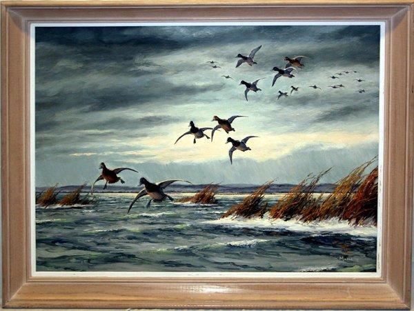 112135: DAVID MAASS OIL ON MASONITE, BIRDS IN FLIGHT