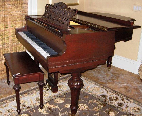 113001: STORY & CLARK MAHOGANY GRAND PIANO W/BENCH