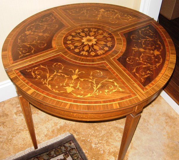 """113003: MAHOGANY HINGED CONSOLE W/MARQUETRY H32"""" W39"""""""