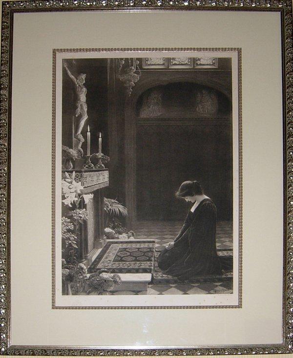 "113011: GRENVILLE MANTON, ENGRAVING, 'JESUS', 36""x26"""