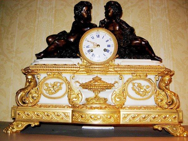 113017: VINCENTI & CIE. BRONZE & MARBLE MANTEL CLOCK