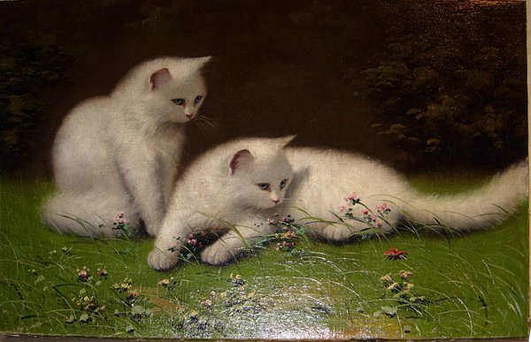 """113018: OIL ON CANVAS 'WHITE CATS' 20TH C. 20""""x30"""""""