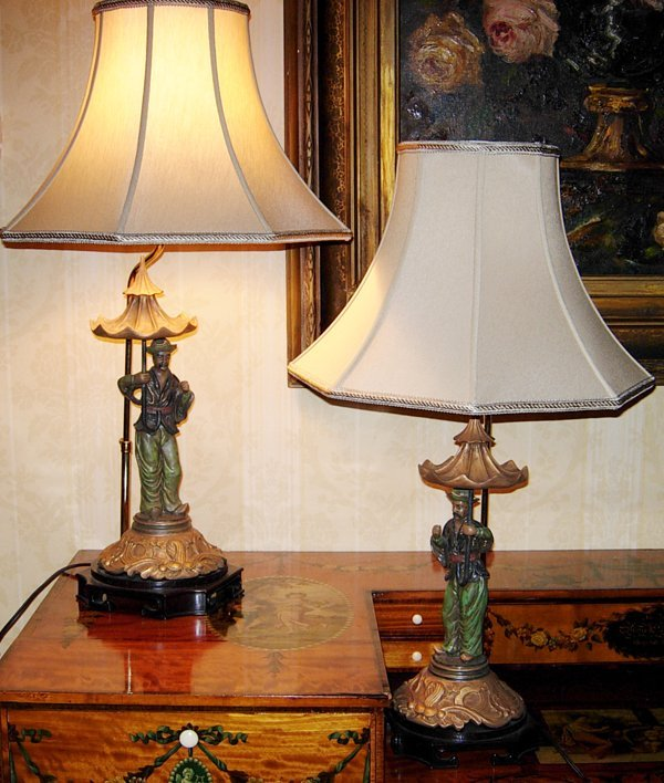 """113019: CHINESE FIGURAL LAMPS, PAIR, H29"""" OVERALL"""