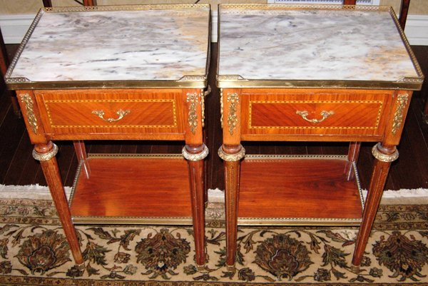 """113022: SATINWOOD TABLES W/MARBLE H28"""" W17"""" D12.5"""""""