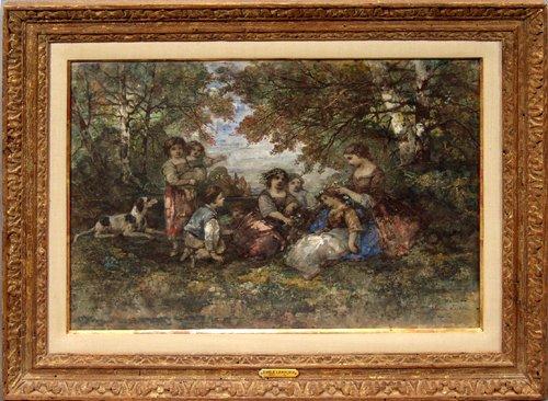 2017: EMILE LESSORE (1805-1867), WATERCOLOR, CHILDREN I