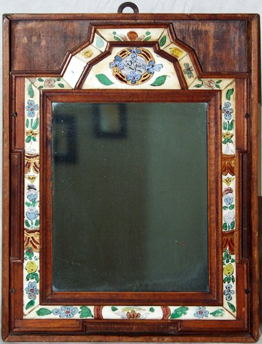 2117: COURTING MIRROR, REVERSE PAINTED GLASS FRAME IN B