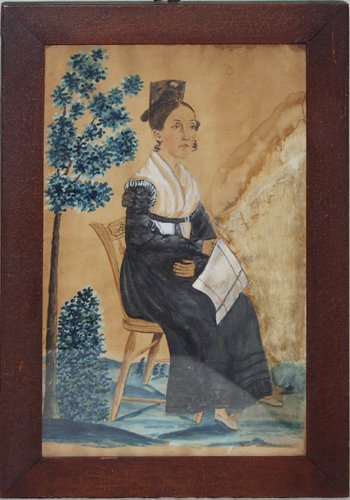 2137: WATERCOLOR AND GOUACHE OF SEATED LADY FACING RIGH