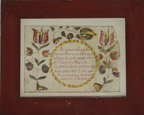 2141: A. BRUBAKER, HAND COLORED BIRTH ANNOUNCEMENT, BEN