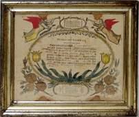 2144: HAND COLORED FRAKTUR, BIRTH AND BAPTISMAL CERTIFI