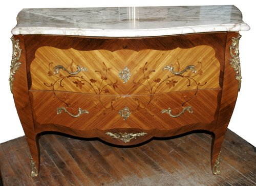 2190: LOUIS XV STYLE MARBLE TOP COMMODE, H 35'', L 49''
