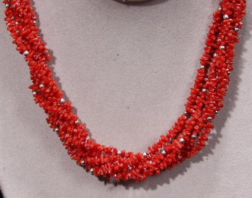2523: RED CORAL SIX STRAND NECKLACE, SILVER CLASP BEADS