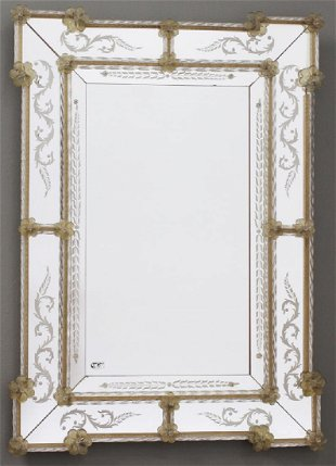 02add69e7754 Italian gilded mirror with Murano glass accents
