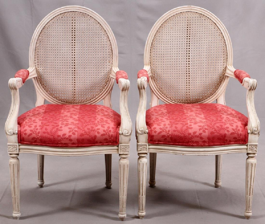 CONTEMPORY LADIES CARVED WOOD ARM CHAIRS, PAIR