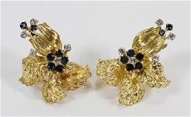 SAPPHIRE, DIAMONDS GOLD EARRINGS OMEGA CLIP