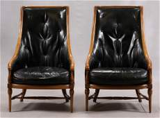 TOMLINSON BLACK LEATHER CHAIRS PAIR