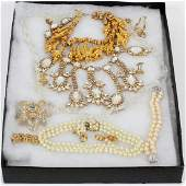 GOLD, GOLD FILLED, FAUX PEARLS COSTUME JEWELRY