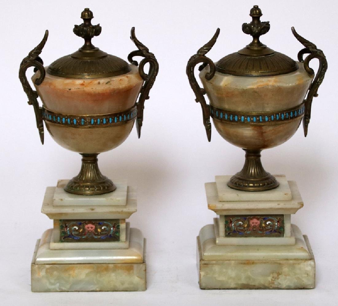 FRENCH BRONZE, ONYX, ENAMEL & CHAMPLEVE COVERED URNS