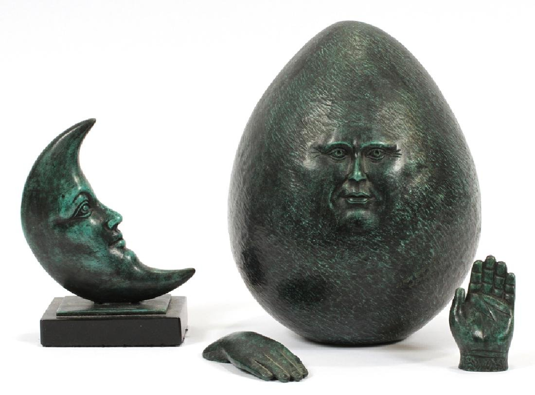 SERGIO BUSTAMANTE BRONZE EGG W/ HANDS & MOON