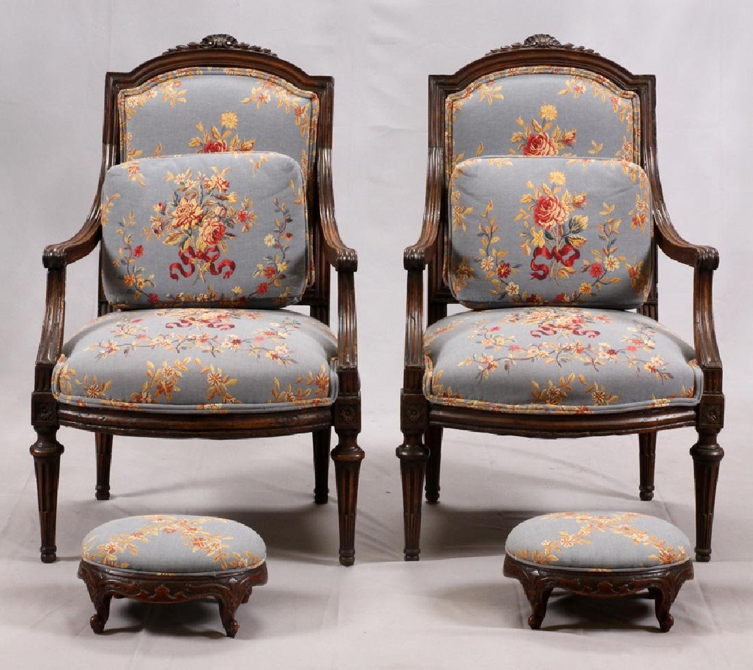 LOUIS XVI STYLE OPEN ARM CHAIRS, 19TH C., PAIR