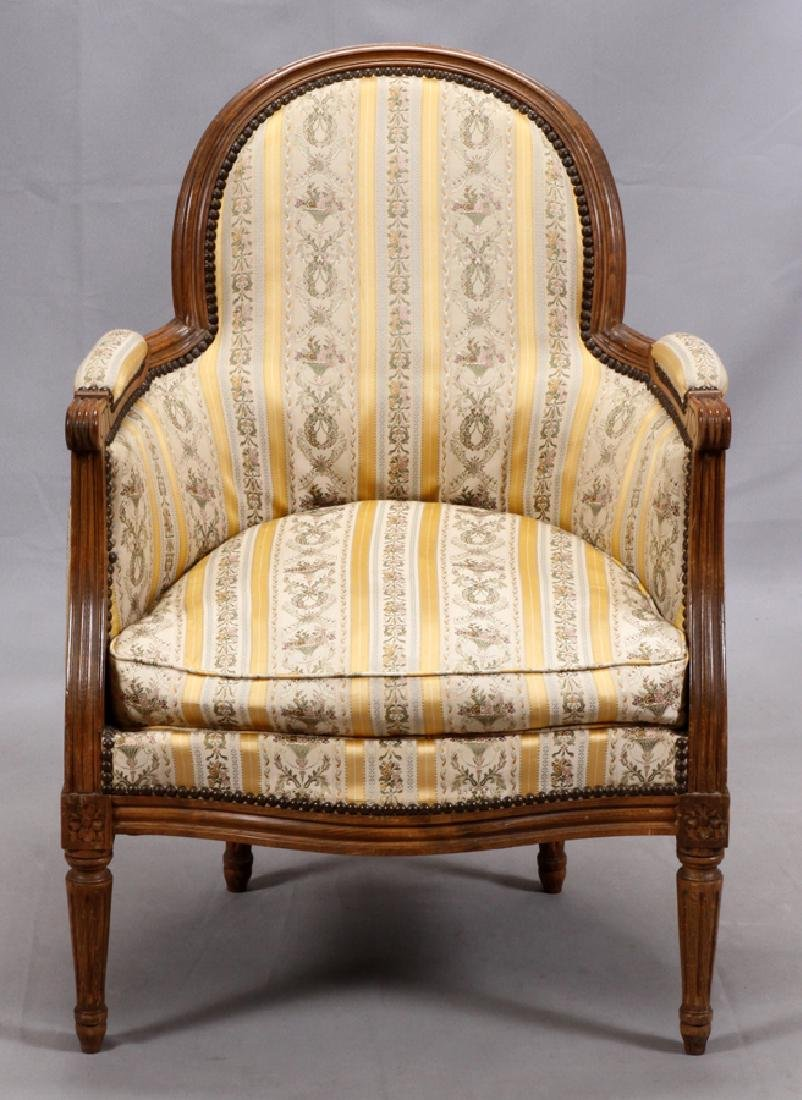 FRENCH WALNUT UPHOLSTERED  ARMCHAIR