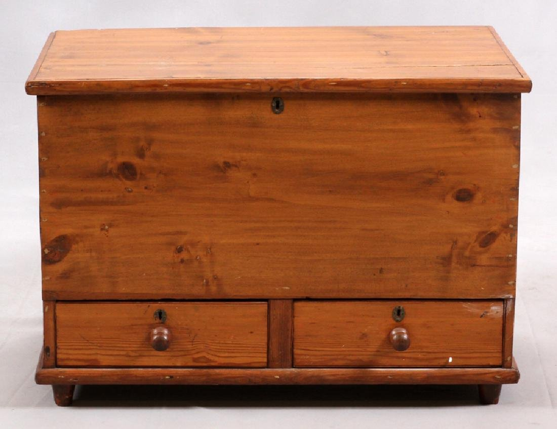 AMERICAN ANTIQUE, PINE, 2 DRAWER HOPE CHEST