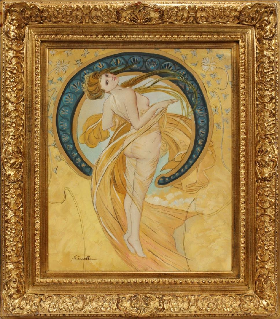 SIGNED KENNETH AFTER MUCHA, OIL ON CANVAS PAINTING