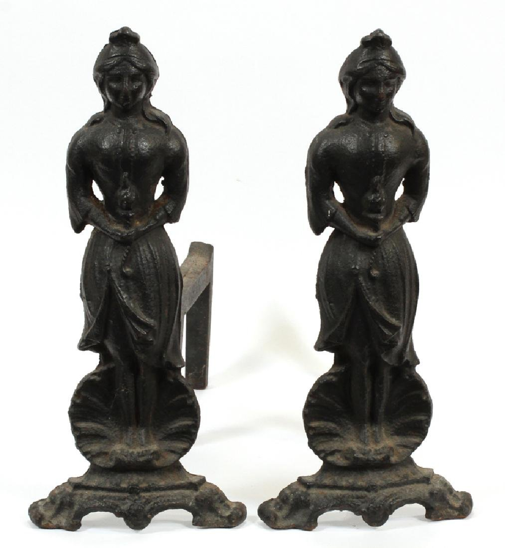 CAST IRON ANDIRONS, LATE 19TH C., PAIR