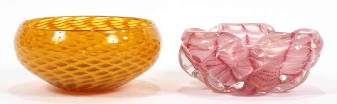 """TWO VENETIAN ART GLASS CANDY DISHES 2 DIA 6.5"""""""