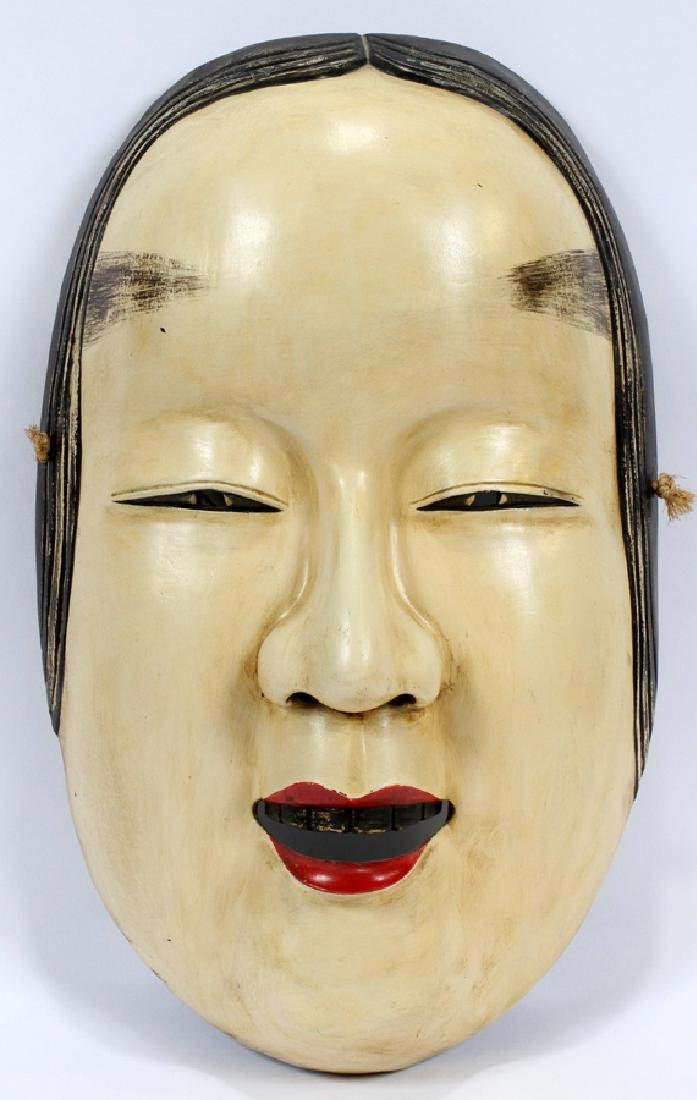 """NOH JAPANESE WOOD THEATRE MASK, H 19"""" W 12"""""""