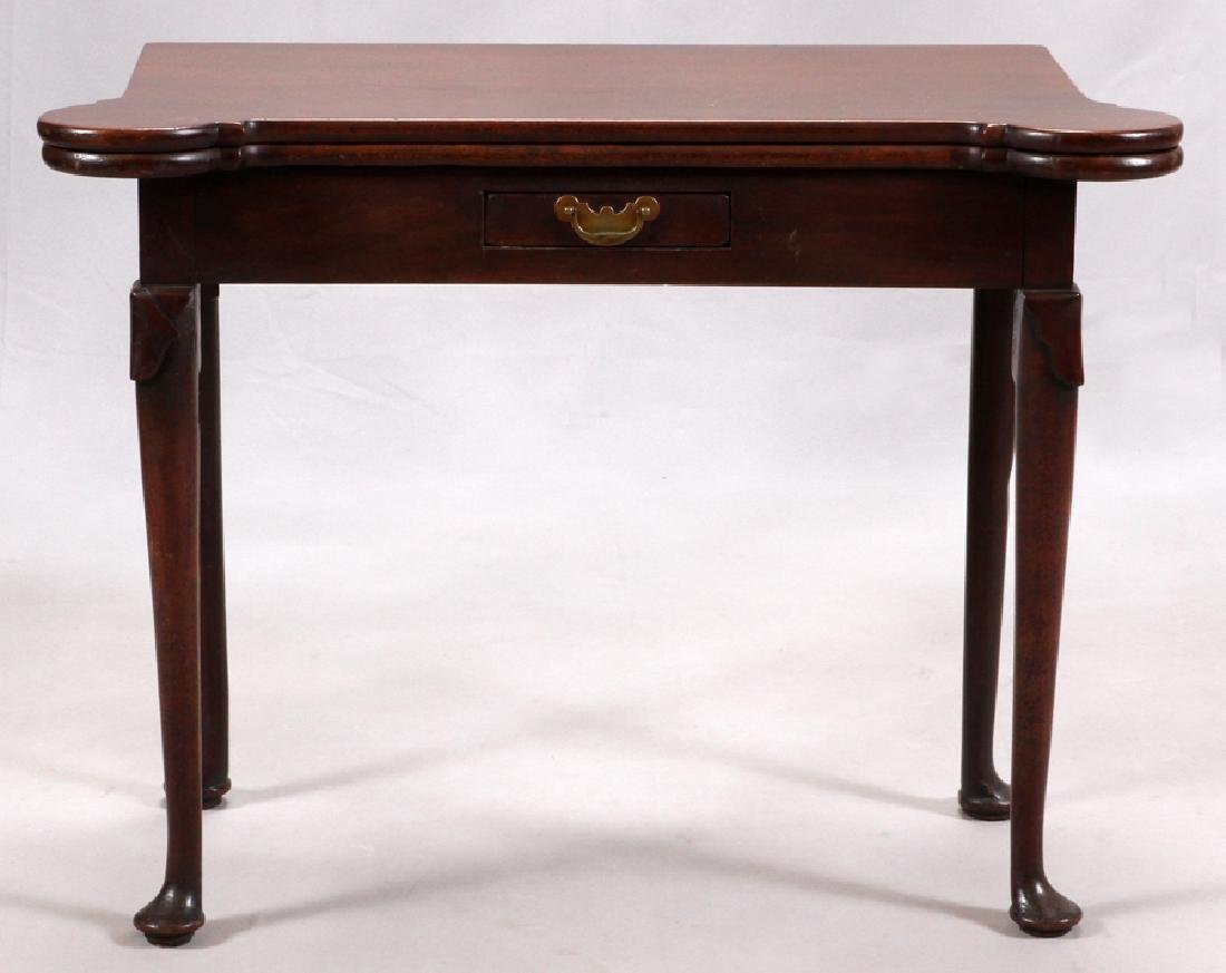 ENGLISH QUEEN ANNE MAHOGANY CONSOLE - CARD TABLE