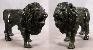 WALKING LIONS BRONZE GARDEN SCULPTURES PAIR