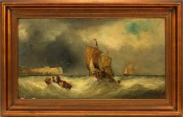 JAMES WEBB OIL ON CANVAS SHIPS IN ROUGH SEA
