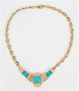 14 KT YELLOW GOLD, TURQUOISE & DIAMOND NECKLACE