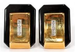 DIAMONDS & ONYX YELLOW GOLD CLIP EARRINGS