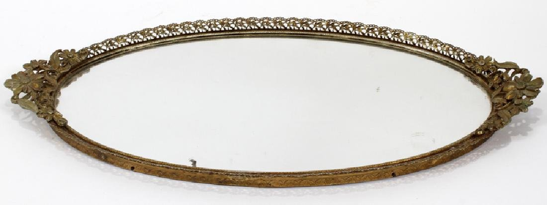 OVAL METAL FRAME WITH MIRROR DRESSER TRAY