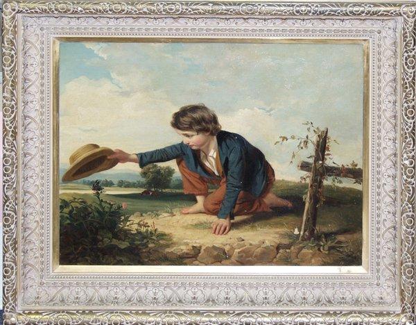 120004: AMERICAN SCHOOL OIL ON CANVAS, KNEELING BOY