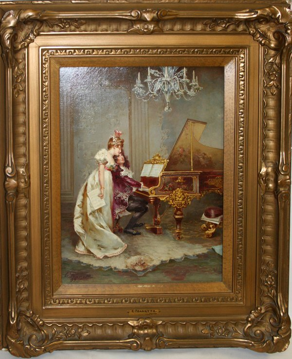 120005: C. FRANETTA OIL ON CANVAS, MAN PLAYING PIANO