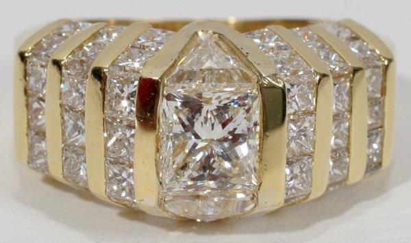 120011: 1CT TRILLIANT & 3.2CT SIDE DIAMOND RING